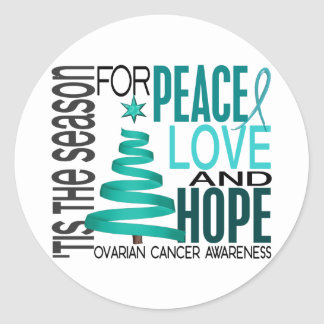 Peace Love Hope Christmas Holiday Ovarian Cancer Classic Round Sticker