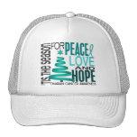 Peace Love Hope Christmas Holiday Ovarian Cancer Trucker Hat