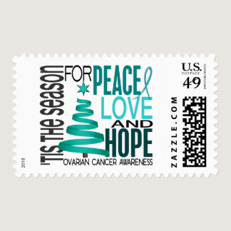 Peace Love Hope Christmas Holiday Ovarian Cancer Postage