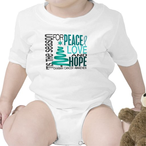 Peace Love Hope Christmas Holiday Ovarian Cancer Romper