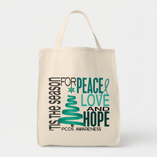 Peace Love Hope Christmas Holiday PCOS Tote Bag