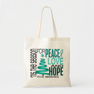 Peace Love Hope Christmas Holiday PCOS Canvas Bag