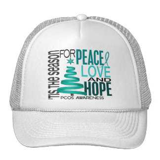 Peace Love Hope Christmas Holiday PCOS Mesh Hats