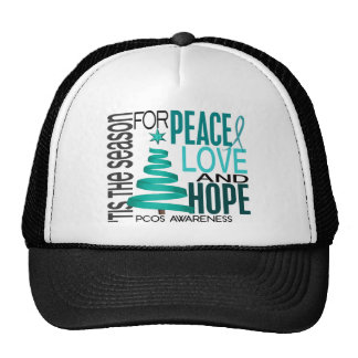 Peace Love Hope Christmas Holiday PCOS Mesh Hat