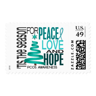 Peace Love Hope Christmas Holiday PCOS Postage
