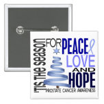 Peace Love Hope Christmas Holiday Prostate Cancer Pin