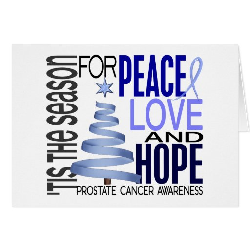 Peace Love Hope Christmas Holiday Prostate Cancer Card