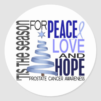 Peace Love Hope Christmas Holiday Prostate Cancer Classic Round Sticker