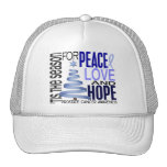 Peace Love Hope Christmas Holiday Prostate Cancer Trucker Hats