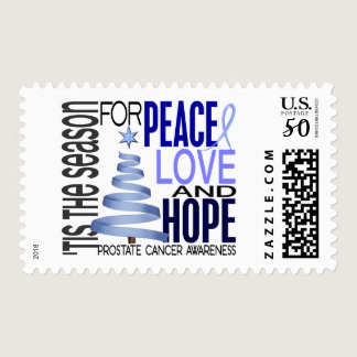 Peace Love Hope Christmas Holiday Prostate Cancer Postage