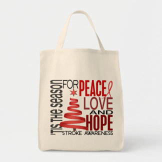 Peace Love Hope Christmas Holiday Stroke Tote Bags