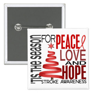 Peace Love Hope Christmas Holiday Stroke Pinback Button