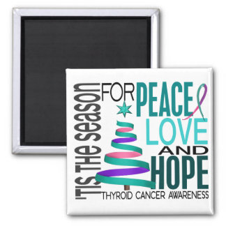 Peace Love Hope Christmas Holiday Thyroid Cancer 2 Inch Square Magnet