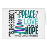 Peace Love Hope Christmas Holiday Thyroid Cancer Card