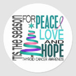 Peace Love Hope Christmas Holiday Thyroid Cancer Classic Round Sticker