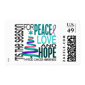 Peace Love Hope Christmas Holiday Thyroid Cancer Postage Stamp