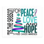 Peace Love Hope Christmas Holiday Thyroid Cancer Postcard