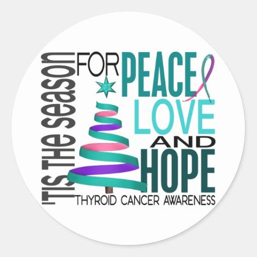 Peace Love Hope Christmas Holiday Thyroid Cancer Sticker
