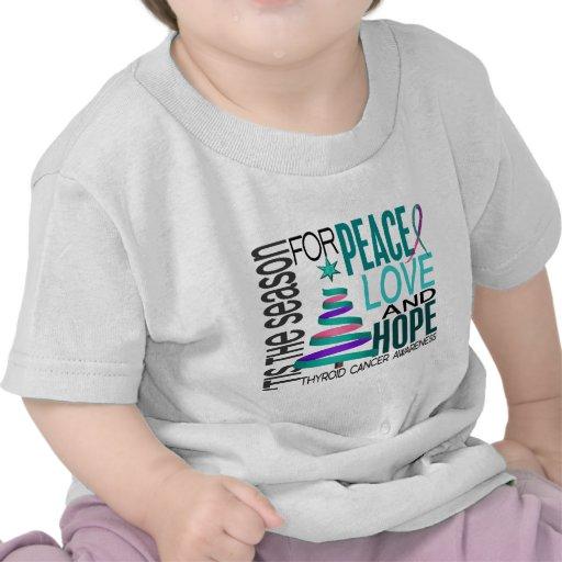 Peace Love Hope Christmas Holiday Thyroid Cancer T-shirt