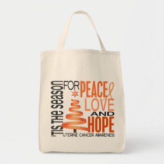 Peace Love Hope Christmas Holiday Uterine Cancer Tote Bags