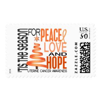 Peace Love Hope Christmas Holiday Uterine Cancer Postage