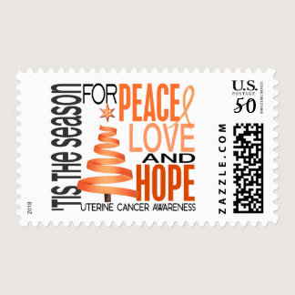 Peace Love Hope Christmas Holiday Uterine Cancer Postage
