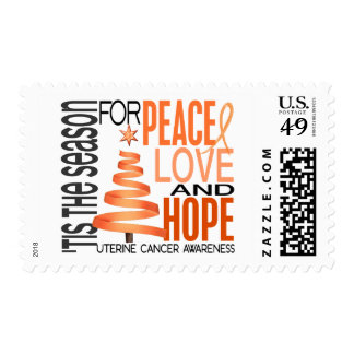 Peace Love Hope Christmas Holiday Uterine Cancer Stamp