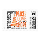 Peace Love Hope Christmas Holiday Uterine Cancer Postage Stamp