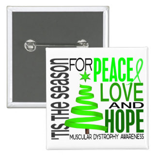 Peace Love Hope Christmas Muscular Dystrophy Pinback Buttons