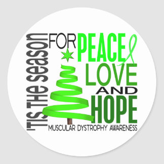 Peace Love Hope Christmas Muscular Dystrophy Round Stickers