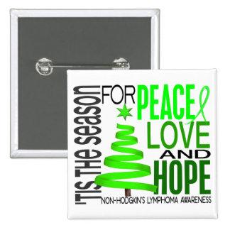 Peace Love Hope Christmas Non-Hodgkin's Lymphoma Buttons