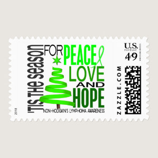 Peace Love Hope Christmas Non-Hodgkin's Lymphoma Postage