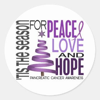 Peace Love Hope Christmas Pancreatic Cancer Stickers