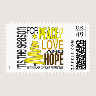 Peace Love Hope Christmas Testicular Cancer Postage