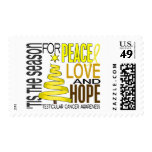 Peace Love Hope Christmas Testicular Cancer Stamps
