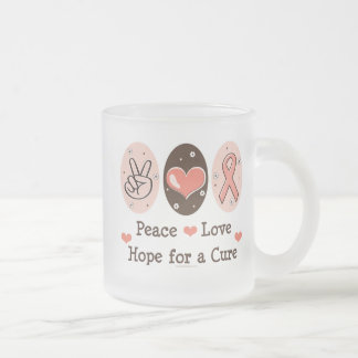 Peace Love Hope Cure Glass Mug