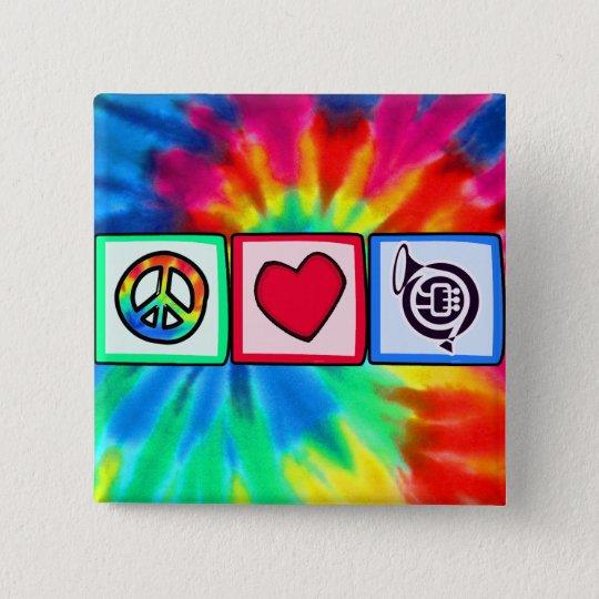 Peace, Love, Horns Button