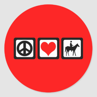 Peace love horse classic round sticker