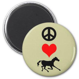 Peace love horse magnet