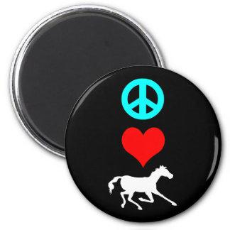 Peace love horse fridge magnets