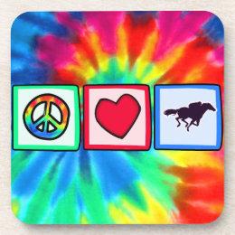 Peace, Love, Horse Racing Beverage Coaster