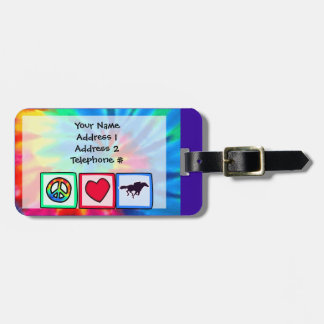 Peace, Love, Horse Racing Luggage Tag