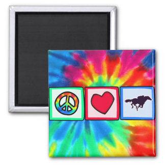 Peace, Love, Horse Racing Magnet