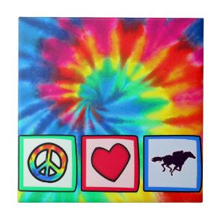 Peace Love Horse Racing Ceramic Tiles