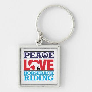 Peace Love Horseback Riding Keychain