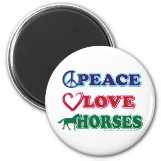 Peace-Love-Horses 2 Inch Round Magnet