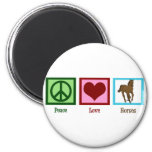 Peace Love Horses 2 Inch Round Magnet