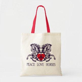 PEACE LOVE HORSES TOTE BAG