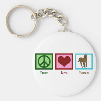 Peace Love Horses Basic Round Button Keychain