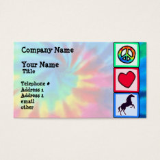 Peace, Love, Horses Business Card at Zazzle